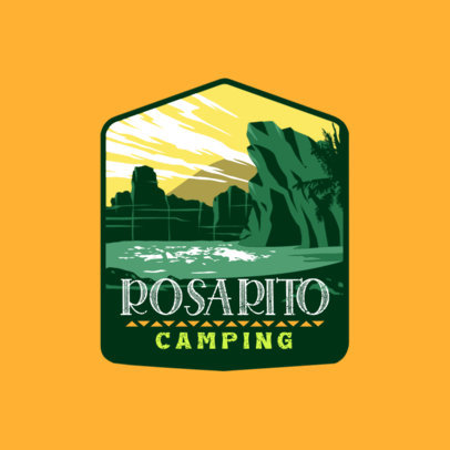 Logo Template for a Camping Site Featuring a Desertic Landscape 4024d