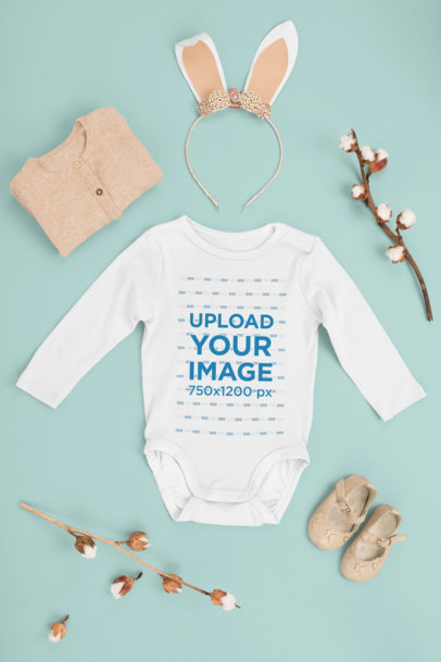 Mockup of a Baby Onesie Featuring an Easter-Themed Outfit m1141
