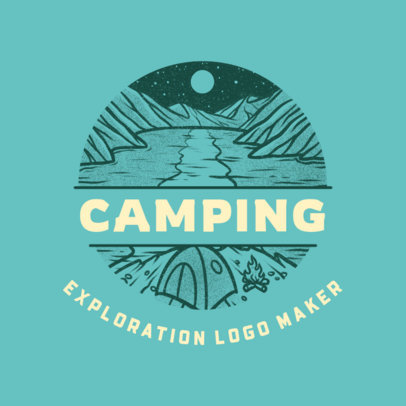 Camping Travel Agency Logo Template Featuring a Lake Graphic 4020h