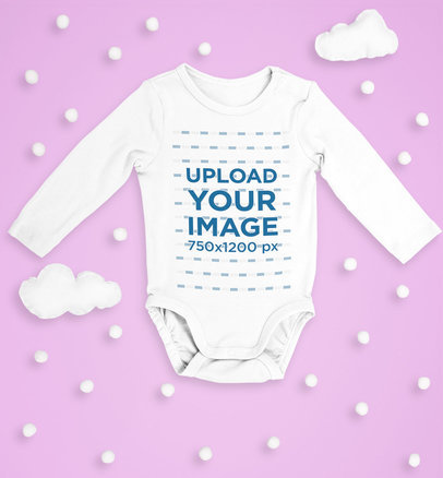 Long Sleeve Onesie Mockup Featuring Little Clouds m1125