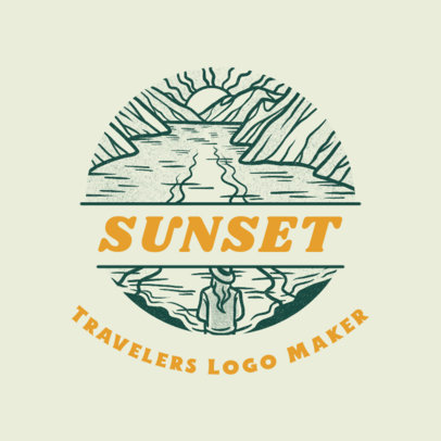 Travel Agency Logo Template Featuring an Outdoors Landscape Graphic 4020p
