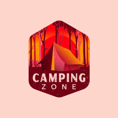 Logo Template for Camping Sites Featuring a Tent Illustration 4024g