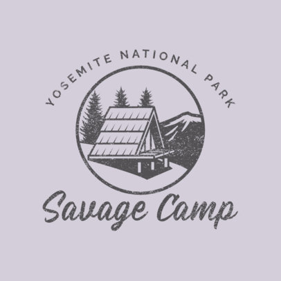 Outdoor Logo Template Featuring a Cabin Illustration 4028s