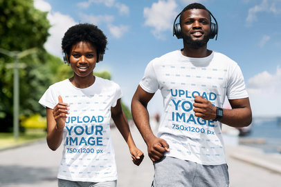 T-Shirt Mockup of a Fit Couple Training Together 45711-r-el2