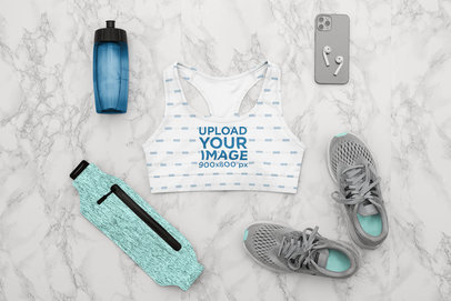 Flat Lay Mockup of a Sports Bra Featuring a Gym Outfit m1186