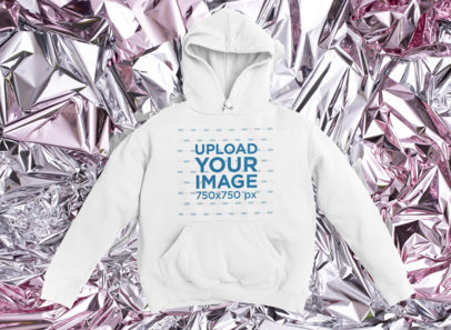 Pullover Hoodie Mockup Featuring a Foil-Textured Surface M1164