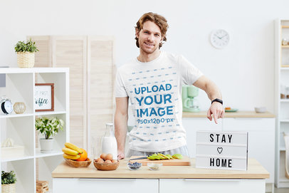 T-Shirt Mockup Featuring a Man Cooking at Home 39561-r-el2