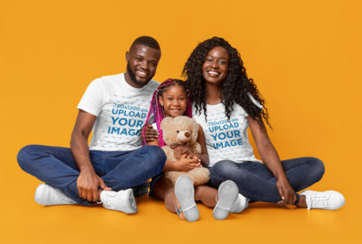 T-Shirt Mockup Featuring a Happy Family at a Studio 46087-r-el2
