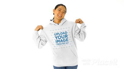 Pullover Hoodie Video of a Woman Posing by a Solid Background 44635v