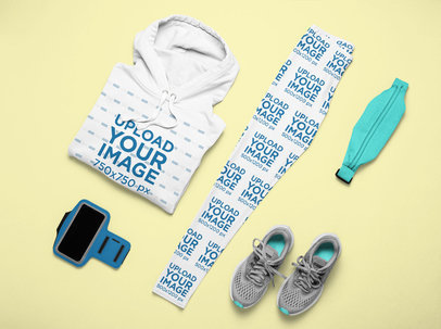 Activewear Outfit Mockup Featuring a Pair of Leggings and a Pullover Hoodie m1195