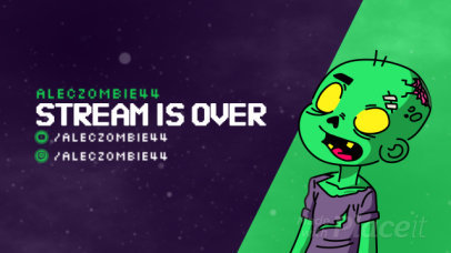 Twitch Stream Ending Screen Video Maker with an Cartoonish Zombie Animation 2611