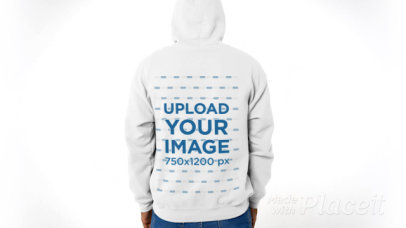 Back-View Video of a Man Wearing a Hoodie in a Studio 43755v