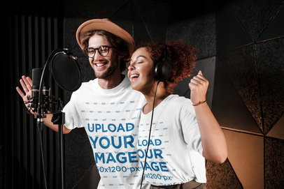 T-Shirt Mockup Featuring a Man and a Woman in a Recording Studio 40164-r-el2