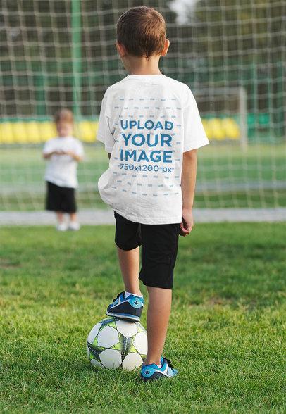 T-Shirt Mockup of a Little Boy Playing Soccer 35679-r-el2