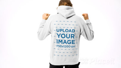 Back-View Video of a Long-Haired Man Pointing at His Hoodie 44106v