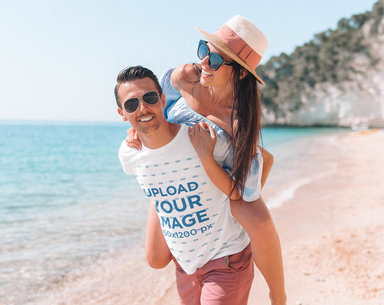 T-Shirt Mockup of a Man Carrying His Girlfriend on His Back 40160-r-el2