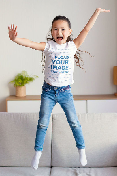 T-Shirt Mockup of a Little Girl Playing in Her Living Room 40436-r-el2