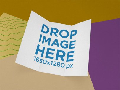 Trifold Brochure Template Floating Over a Multicolor Surface a15191