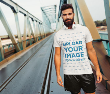 T-Shirt Mockup Featuring a Bearded Jogger with Headphones 40696-r-el2