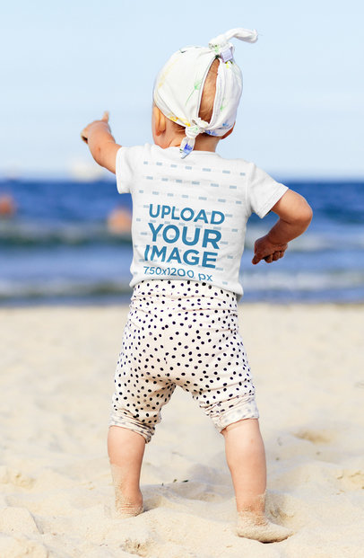 Back-View T-Shirt Mockup of a Little Kid at a Beach 40206-r-el2