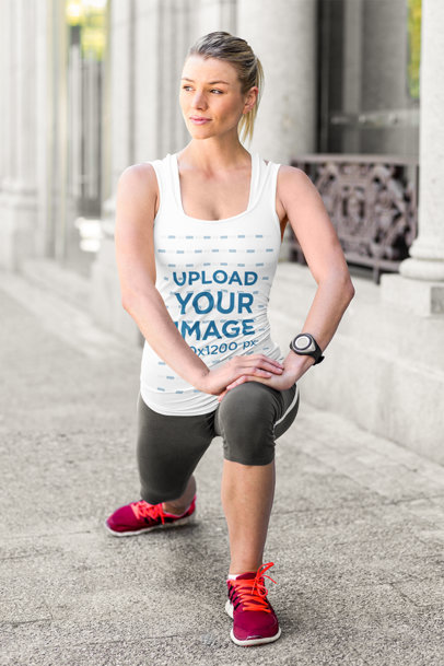 Tank Top Mockup Featuring a Woman Stretching Before a Run 41570-r-el2