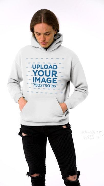 Video of a Happy Young Man Wearing a Hoodie in a Studio 44113v