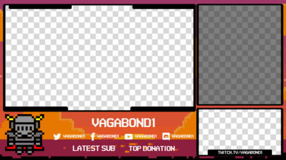 OBS Overlay Template for a Retro Streaming Channel Featuring an 8-Bit Warrior 3368a