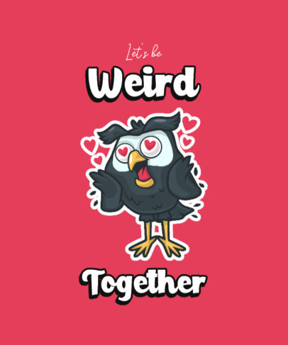 Cartoonish T-Shirt Design Maker Featuring a Funny Owl In Love 3468a-el1