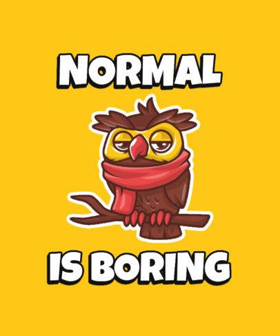 Fun T-Shirt Design Creator Featuring an Eccentric Cartoon Owl 3468b-el1