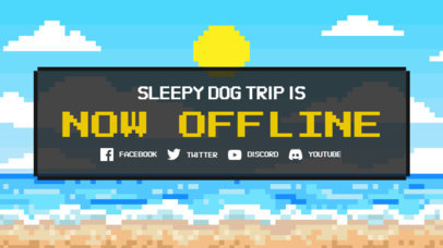 Twitch Offline Banner Maker With an 8-Bit Aesthetic and a Beach Background 3368f
