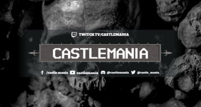 Twitch Banner Design Template for a Horror Streamer Featuring a Skull  3372d
