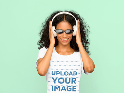 Tee Mockup of a Woman with Headphones at a Studio 40426-r-el2