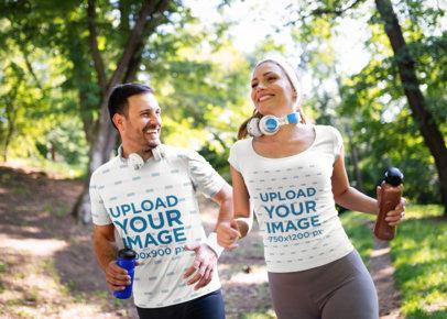 T-Shirt Mockup of a Couple Having Fun Running Outdoors 41075-r-el2