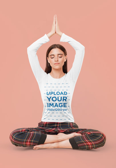 Long Sleeve Tee Mockup Featuring a Woman Doing Yoga in a Studio 39850-r-el2