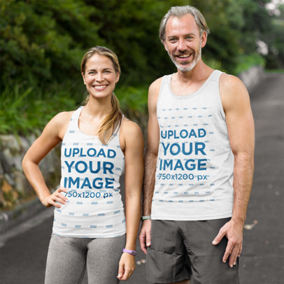 Tank Top Mockup of a Man and a Woman Training Together 44794-r-el2