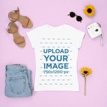 T-Shirt Mockup Featuring Sunflowers and Girly Garments m1641