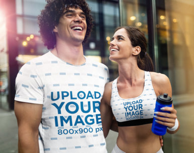 T-Shirt and Sports Bra Mockup of a Fit Couple Laughing Together 44883-r-el2