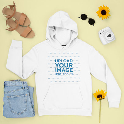 Mockup of a Pullover Hoodie Featuring Sunflowers m1639
