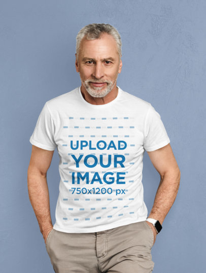 T-Shirt Mockup of a Senior Man Posing Against a Solid Color Backdrop 38195-r-el2