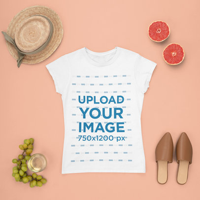Mockup of a T-Shirt Surrounded by Summer Accessories and Fruits m1652