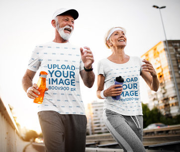 Activewear Mockup of a Senior Couple Wearing T-Shirts While Jogging 40708-r-el2