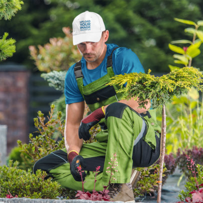 Dad Hat Mockup of a Man Doing Gardening Work 42103-r-el2