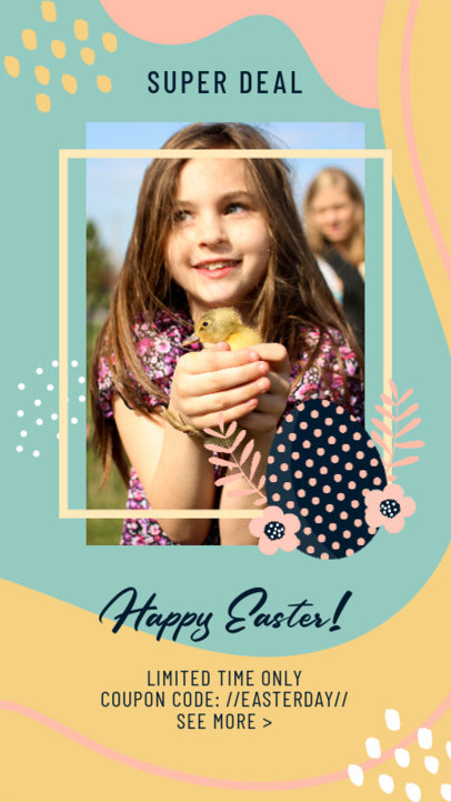 Instagram Story Design Maker for an Easter Sale Featuring an Illustrated Background 3389