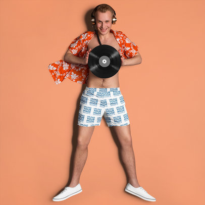 Shorts Mockup Featuring a Man with Headphones Holding a Record 37845-r-el2