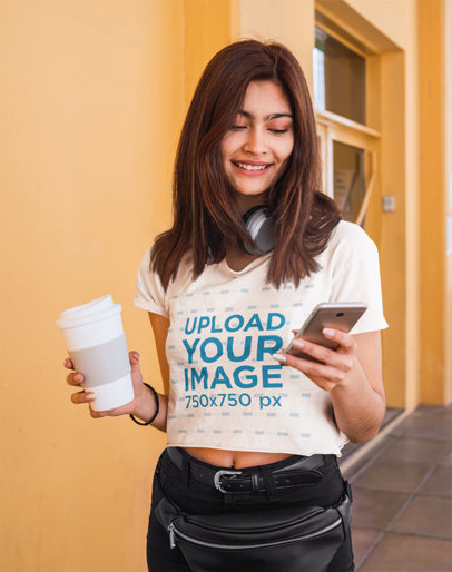 Crop Top Mockup Featuring a Young Happy Woman Checking Her Phone 40595-r-el2