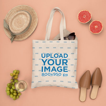 Tote Bag Mockup Featuring Summer Season Fruits m1648