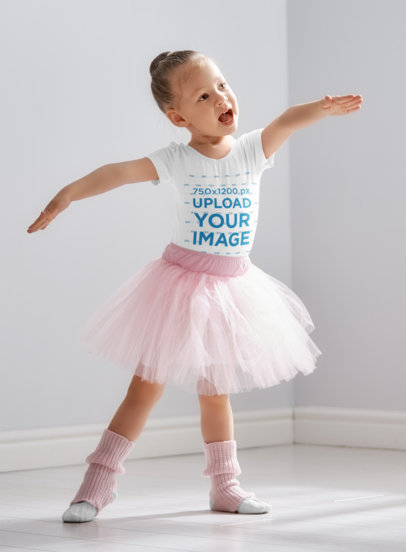 T-Shirt Mockup Featuring a Little Ballerina 40232-r-el2