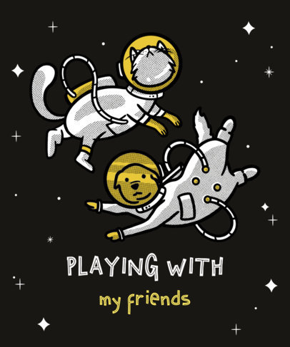 T-Shirt Design Maker Featuring Illustrations of Animals in Space 3381