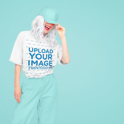 Oversized T-Shirt Mockup of a Happy Woman With Silver Hair 43087-r-el2