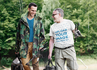 T-Shirt Mockup of Two Men Gone Fishing 43515-r-el2
